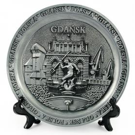 Souvenir metal plate Gdansk