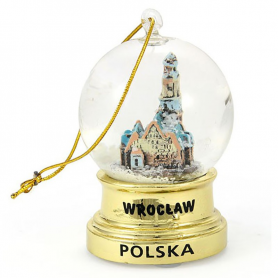 Globe a neige Wroclaw Gold suspendu 45 mm