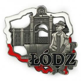 Metal fridge magnet shape of Poland Lodz Tuwim