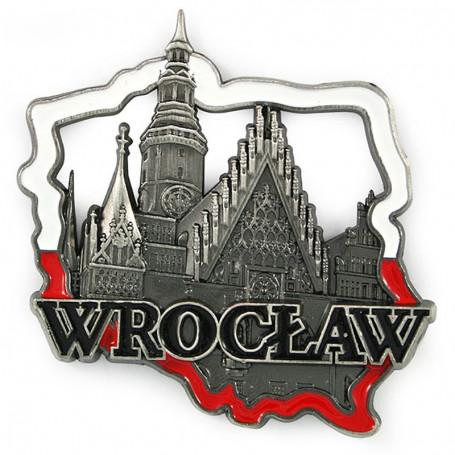 Magnes metalowy kontur Polski Wrocław Ratusz