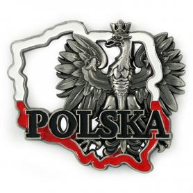 Magnes metalowy kontur Polski Polska orzeł