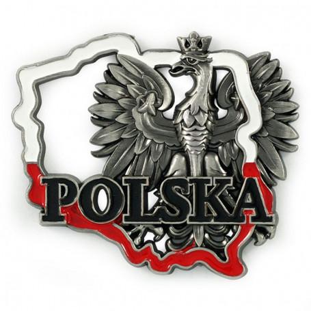 Aimant métal contour de Pologne Pologne aigle