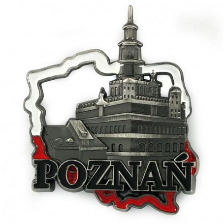 Magnes metalowy kontur Polski Poznań ratusz