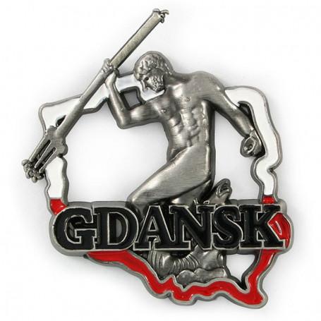 Aimant métal contour de la Pologne Gdańsk Neptun