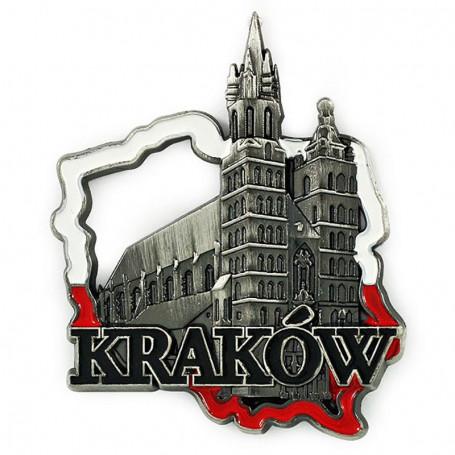 Magnes metalowy kontur Polski Kraków kościół Mariacki