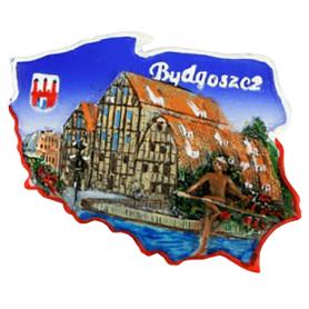 Fridge magnet, Poland shaped, Bydgoszcz