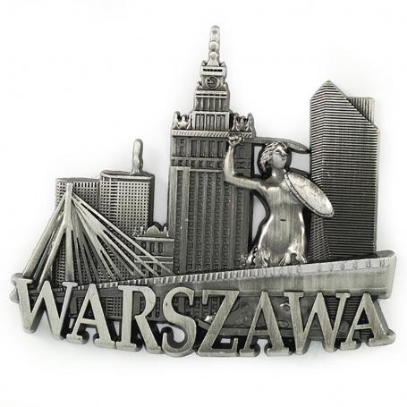 Metal imán Panorama de Varsovia