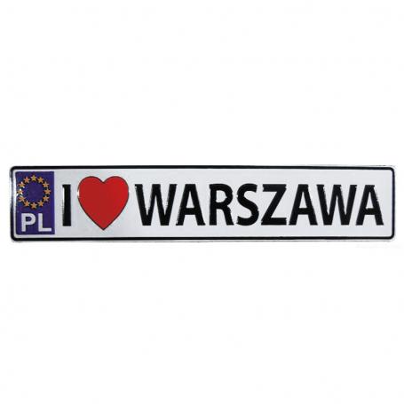Magnet plaque d'immatriculation en métal Varsovie