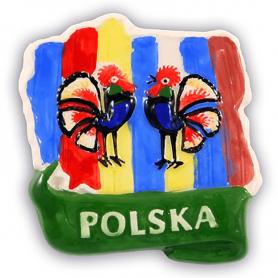 Ceramiczny magnes na lodówkę Polska kontur folk