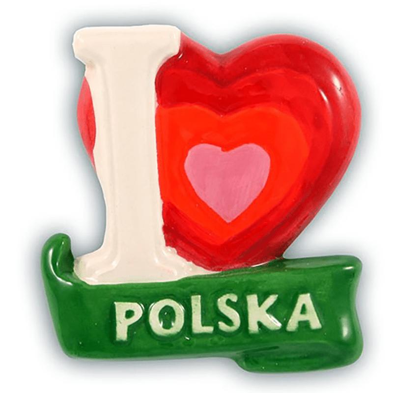 Aimant de réfrigérateur en céramique J'aime la Pologne