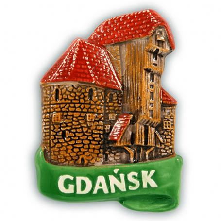Imán de nevera de cerámica Grúa de Gdańsk