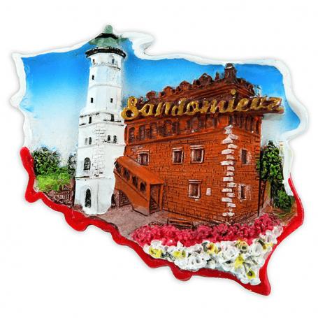 Magnes na lodówkę kontur Sandomierz
