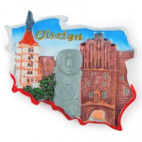 Fridge magnet, Poland shaped, Olsztyn