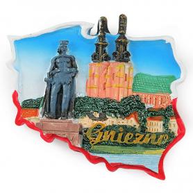 Fridge magnet, Poland shaped, Gniezno