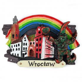 Kühlschrankmagnet auf dem Brett Wrocław Jaś i Małgosia