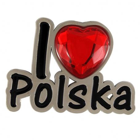 Metalowy magnes na lodówkę I love Polska
