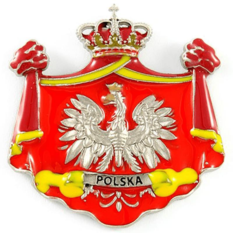 Metalowy magnes na lodówkę godło Polski