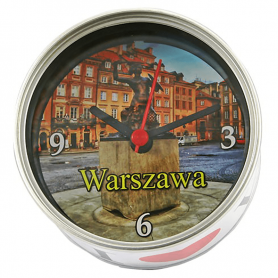 Souvenir clock in a can Warsaw