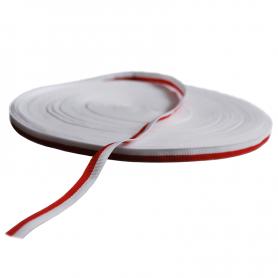 Cinta grosgrain, blanca y roja, 1 cm