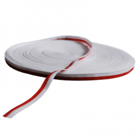 Grosgrain tape, white and red, 1 cm