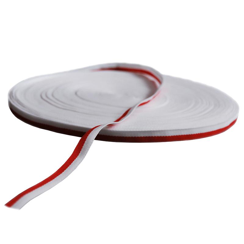 Ruban gros-grain, blanc et rouge, 1 cm