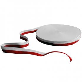 Rep Pelzband, weiß und rot, 2 cm