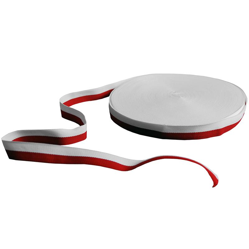 Taśma rypsowa biało-czerwona 2 cm