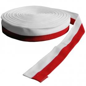 Reptilt bånd, hvitt og rødt, 4 cm, emballasje 50 m