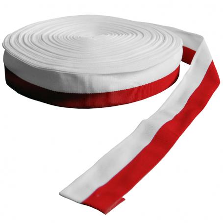Rep ruban de fourrure, blanc et rouge, 4 cm, paquet de 50 m