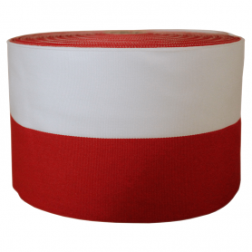 Reptilband weiß-rot 10 cm, Packung 50 m