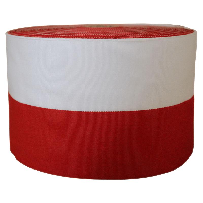 Taśma rypsowa biało-czerwona 10 cm, opakowanie 50 m
