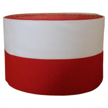 Ropliu juosta baltai raudona 10 cm, pakuote 50 m