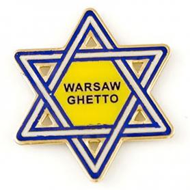 Metalowy magnes na lodówkę gwiazda Getto Warszawskie