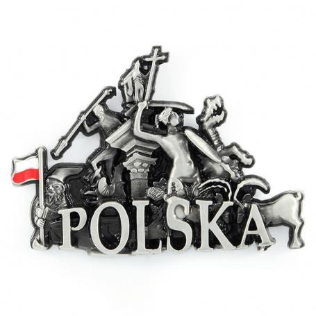Imán de nevera de metal Polonia monumentos