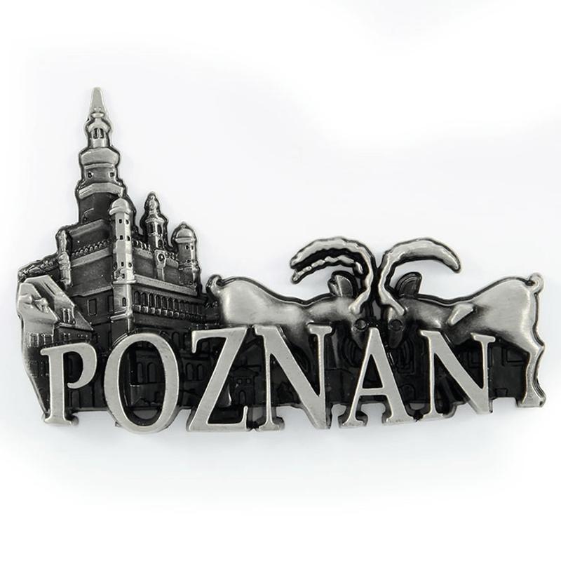 Metalowy magnes na lodówkę Poznań