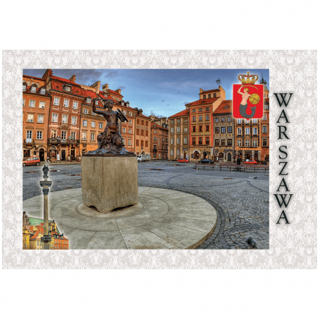 Pocztówka 3D Warszawa Rynek Starego Miasta Syrenka