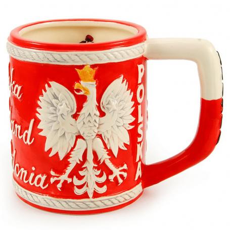 Glazuruotas puodelis Lenkijos emblema