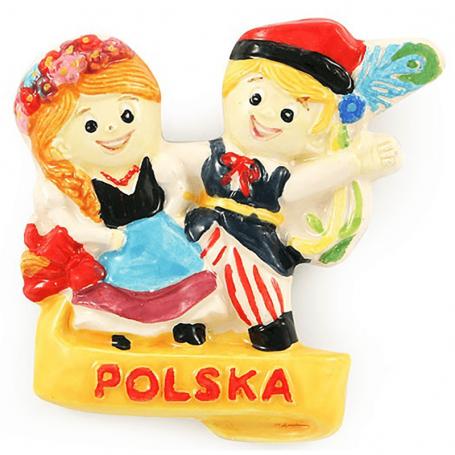 Ceramiczny magnes na lodówkę para ludowa Polska
