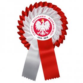 Kotylion biało-czerwony na stulecie odzyskania niepodległości