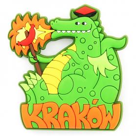 Gumowy magnes na lodówkę Kraków - smok z kiełbasą