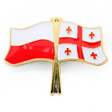 Pin, marcador de bandera Polonia-Georgia