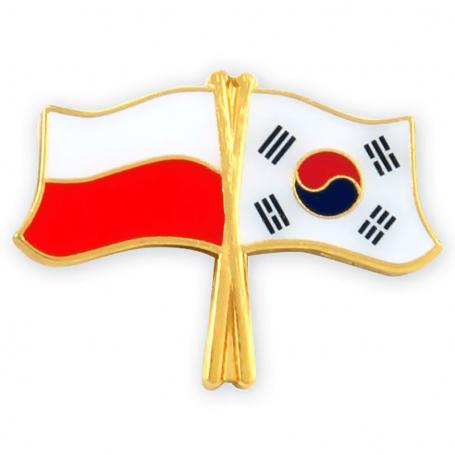 Botones, bandera pin Polonia-Corea del Sur