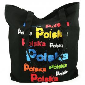 Black canvas bag with colorful POLAND inscriptions