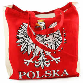 Canvas red bag with the eagle POLAND