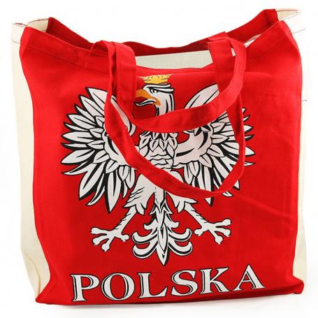 Torba płócienna czerwona z orłem POLSKA