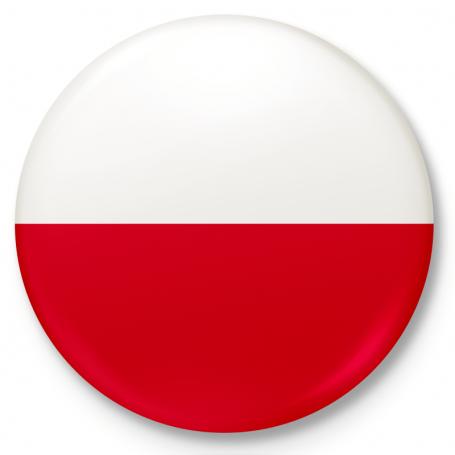 Button fridge magnet. Polish flag