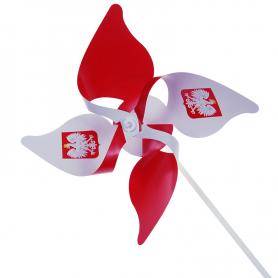 Wiatraczek biało-czerwony z godłem (komplet)
