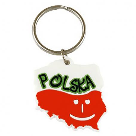 Llavero de goma contorno polaco - sonrisa