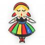 Magnes na lodówkę gumowy dziewczynka folk Polska