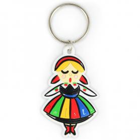 Porte-clés en caoutchouc fille folklorique Pologne